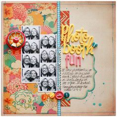 Web-PhotoboothFun; scrapbook, layout, design, sassafras, photo booth, page map, hand stitching, felt flower, paint, machine stitching