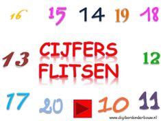 Digibordles Flitsen 11 - 20 Math Numbers, Teaching Math, Preschool, Classroom, Index, First Class, Class Room, Nursery Rhymes, Kindergarten