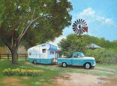 Vintage 1957 Scotsman Travel Trailer camper 1966 Ford F100 Windmill TX RV Art | eBay
