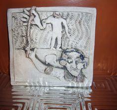Vintage Decorative Tile Whimsical Handmade Tile by VistaChick