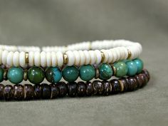 Mens Bracelet  Turquoise Bracelet Set  Stretch by StoneWearDesigns, $38.00
