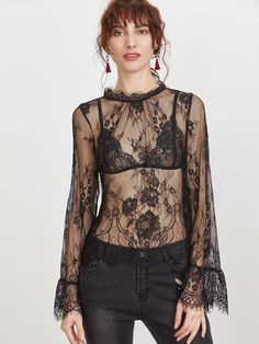 MakeMeChic - MAKEMECHIC Black Buttoned Keyhole Back Sheer Floral Lace Top - AdoreWe.com