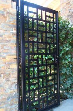 Contemporary metal gate on sale wrought iron garden estate modern . Grill Design, Fence Design, Steel Gate Design, Modern Fence, Mid-century Modern, Garden Modern, Modern Design, Modern Gates, Contemporary Garden