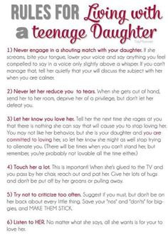 Rules for Living with a Teenage Daughter + free printable at TidyMom.net #ParentingDaughters #ParentingTeens