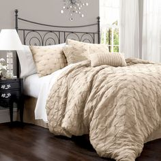 Lake Como Taupe Queen Size Comforter Sets       -would be cute with burlap bedding skirt