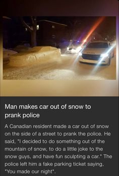 I can see Britain as the police man and a young America and a young Canada making the car out of snow Stupid Funny, Funny Cute, The Funny, Funny Jokes, Hilarious, Canadian Memes, Canadian Humour, Canada Funny, Canada Eh