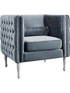 TOV Furniture Bryn Velvet Chair, Grey ❤ TOV Furniture