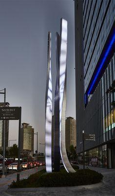 Smart Media Forest_Media Sculpture_Yongsan_Seoul_Korea Tap System, Sign System, Entrance Signage, Linear Lighting, Wayfinding Signage, Environmental Graphics, Interactive Design, Building Design, Installation Art
