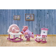 So Small Pets™ - Rock-a-bye Piggy Rocking Chair and Cradle Set