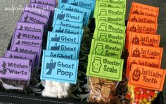 Link to be able to purchase the printables - chocolate chips as witches wards, mini marshmallows as ghost poop, cinnamon toast crunch as monster scabs, candy corn as Jack O'Lantern teeth