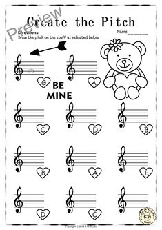 This set of 12 Music worksheets Valentine`s day themed is designed to help your students practice identifying Treble pitch. Music Worksheets, Reading Worksheets, Preschool Worksheets, Music Do, Music Class, Piano Lessons For Beginners, Keyboard Lessons, Valentines Day Activities, Music Activities