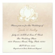 "Cinderella Princess Carriage Wedding Invitation 5.25"" Square Invitation Card"