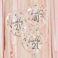 Ginger Ray Hello 21 Rose Gold Confetti Balloons – Build a Birthday NZ 21st Birthday Cake Toppers, 30th Birthday Balloons, 21st Birthday Decorations, Gold Party Decorations, Happy 21st Birthday, Gold Birthday, 21st Bday Ideas, 21st Birthday Ideas For Girls Turning 21, Birthday Sash