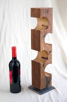 Modern Standing Wine Rack, Dark Barnwood, Reclaimed Barn Wood And Steel