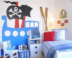 Giant pirate ship wall-decal for kids' rooms