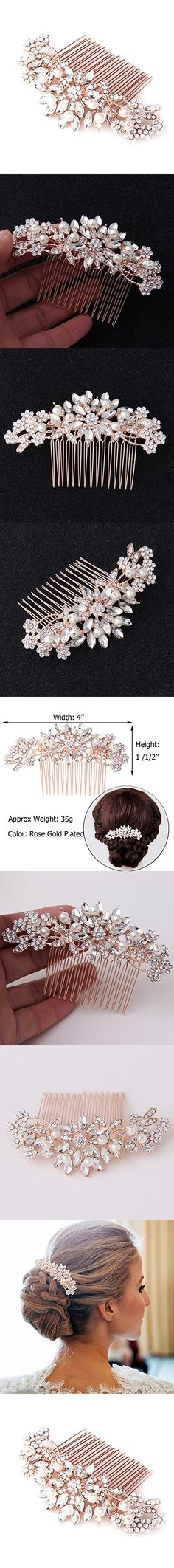 Fairy Moda Vintage Flora Simulated Pearl Crystal Bridal Hair Comb Rose Gold for Wedding Hair Accessories