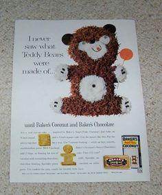 1961 Ad Page Baker's Angel Flake Coconut Chocolate Teddy Bear Cake Recipe Ad