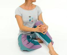 Women's Pajama Set - Two-Piece  Ladies Sleepwear  Jellyfish and Colorful Stripes - Summer Design Sea Life - Purple Blue Gray Knit Cotton