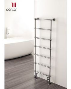 The Carisa Victoria Floor Standing Heated Towel Rail is one of our standout products, thanks to its robust build, clever design and versatility. For those looking for a highly secure towel rail for their home, the Victoria features both wall and floor mo Electric Towel Rail, Chrome Towel Rail, Traditional Towel Radiator, Horizontal Radiators, Bathroom Radiators, Electric Radiators, Designer Radiator, Heated Towel Rail