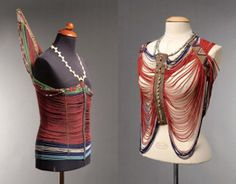 Africa | A male (left) and a female (right) beaded corset from the Dinka people of Sudan | Images taken from the PBA Auction catalogue of 7th November 2008
