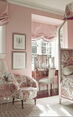 Adult bedroom in many shades of pink & blush. Pretty Roman Shades.