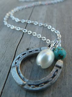 Lucky Cowgirl - Pearl Edition - Horse Shoe Country Western Equestrian Riders Good Luck Charm Necklace. $29.00, via Etsy.