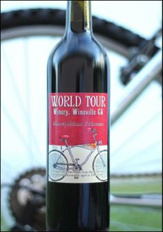 Old fashioned bicycle image on a custom #wine label from NoontimeLabels.com
