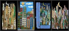 collage of my #cities in #wood, see more on FB https://www.facebook.com/pages/Silvia-Logi-Artworks/121475337893535?ref=br_rs