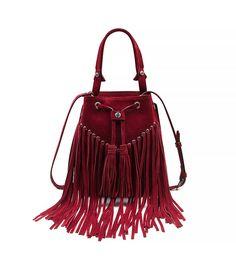 Adula Suede Fringe Bag, Red via @WhoWhatWear