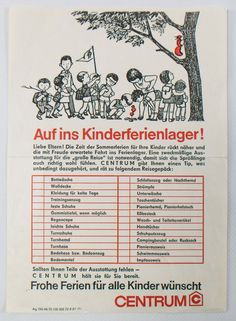 """- DDR Museum – Museum: Object Database – """"Packing List Children& Holiday Camp"""" Copyright: D - Ddr Museum Berlin, Ddr Brd, Rum, East Germany, My Childhood Memories, 80s Trends, About Me Blog, Holiday List, Historia"""