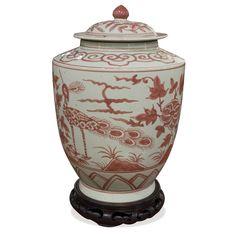 Red White Porcelain Tea Jar