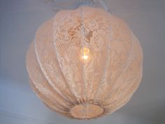 Lamp  Pendant light made in Shabby Chic Style Vintage Lace. $99.00, via Etsy.