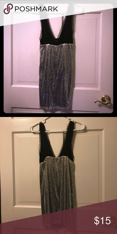 Classy silver & black sequins v neck dress Very cute and classy evening dress Dresses Midi