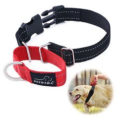Martingale Collar PETBABAB Reflective Quick Release Buckle Adjustable Training Collar for Dogs Red M >>> Check out this great product.