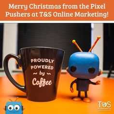 Pixel says Merry Christmas! Drink your coffee this holiday season! Christmas Coffee, Merry Christmas, Oklahoma City, Online Marketing, Robot, Social Media, Drink, Mugs, Tableware