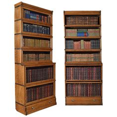 Pair of Oak Globe Wernicke, Six Section Bookcases | From a unique collection of antique and modern bookcases at https://www.1stdibs.com/furniture/storage-case-pieces/bookcases/