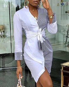 Shop Contrast Color Knot Front Shirt Dress right now, get great deals at Divasruby Mode Outfits, Chic Outfits, Dress Outfits, Dress Clothes, Trend Fashion, Look Fashion, Estilo Fashion, Woman Fashion, Fall Fashion