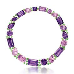 Find out more Verdura Byzantine Riviere amethyst necklace in gold, with pink kunzites, tsavorites and garnets. Amethyst Jewelry, Amethyst Necklace, Gemstone Jewelry, Diamond Jewelry, Pendant Necklace, Tanzanite Jewelry, Diamond Necklaces, Gold Necklace, Jewelry For Her