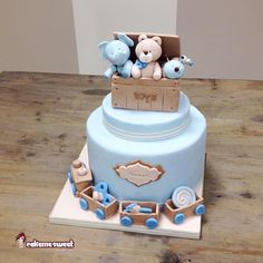 Toys box - Cake by Naike Lanza Torta Baby Shower, Baby Shower Cakes For Boys, Baby Boy Cakes, Bolo Cake, Torte Cake, Cookie Cake Birthday, First Birthday Cakes, Gorgeous Cakes, Amazing Cakes