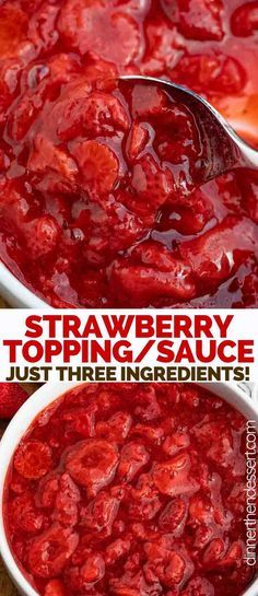 Strawberry Topping is a sweet and indulgent strawberry sauce made from strawberries, sugar, and vanilla, ready in just 20 minutes! strawberry dessert sauce icecream forcheesecake forpancakes di is par - Top Recipes, Fruit Recipes, Sauce Recipes, Cooking Recipes, Recipes Dinner, Easy Recipes, Salsa Dulce, Cheesecake Toppings, Ricotta Cheesecake