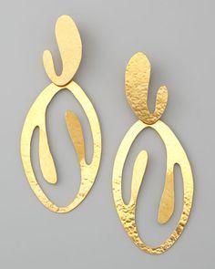 Coral Cutout Drop Clip Earrings by Herve Van Der Straeten at Neiman Marcus.