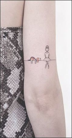 Unique Dog Ballerina Landscape Back of Elbow Tattoo Ideas for Women - unique ideas . - Unique Dog Ballerina Landscape Back of Elbow Tattoo Ideas for Women – Unique Little Dog Tattoo Id - Mini Tattoos, Small Dog Tattoos, Elbow Tattoos, Tattoos For Women Small, Trendy Tattoos, Unique Tattoos, New Tattoos, Tattoos For Guys, Tatto Unique