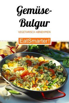 Vegetarisch abnehmen: Gemüse-Bulgur - kalorienarm - einfaches Gericht - So gesund ist das Rezept: 9,2/10 | Eine Rezeptidee von EAT SMARTER | Clean Eating, Low Fat-Rezepte, Cholesterinarm, Gesunde Ernährung, Laktosefrei, Laktosefreie Salate, Ohne Ei, Vegan, Vegetarisch, Vegetarische Salate, Gesundheit, Bluthochdruck, Darmflora, Diabetiker, Erhöhte Blutfettwerte, Erhöhter Cholesterinspiegel, Gicht, Herzbeschwerden, Ragout, Gemüse, Blütengemüse, Getreide #fruchtgemüse #gesunderezepte Immune System Diseases, Food And Drink, Vegan, Ethnic Recipes, Quinoa, Clean Eating, Fruits And Veggies, Healthy Food, Eat Healthy