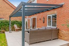 Aspire glass roof veranda from SunSpaces. Modern veranda design - perfect for outdoor relaxation! Request your FREE veranda quote today. Patio Ideas, Backyard Ideas, Garden Ideas, Garden Room Extensions, House Extensions, Patio Canopy, Pergola Patio, Cottage Extension, Garage Solutions