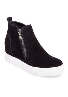 6dfb8cb3431 Steve Madden Women s Wedge High Top Sneakers - Black Suede - 7.5M