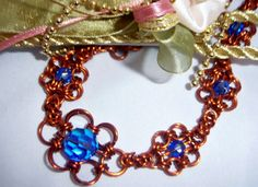 Crystal Blue Chainmaille Flower Copper Necklace Set by TracysJC, $95.00