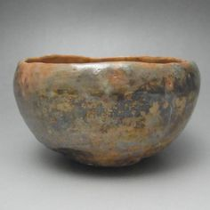 Vintage Japanese Metallic Glazed Raku Pottery Tea Bowl #1859 - antique shop CHANO-YU