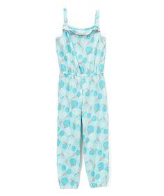 Turquoise Floral Jumpsuit - Girls