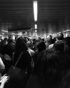 112/366 - Overcrowded at platform level. #london #thisislondon #tube #underground #tfl #crowd #people #urban #bw #blackandwhite #urbanexploration #mobilephotography #project365