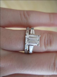 emerald cut with baguettes and baguette wedding band Kimberly Grove